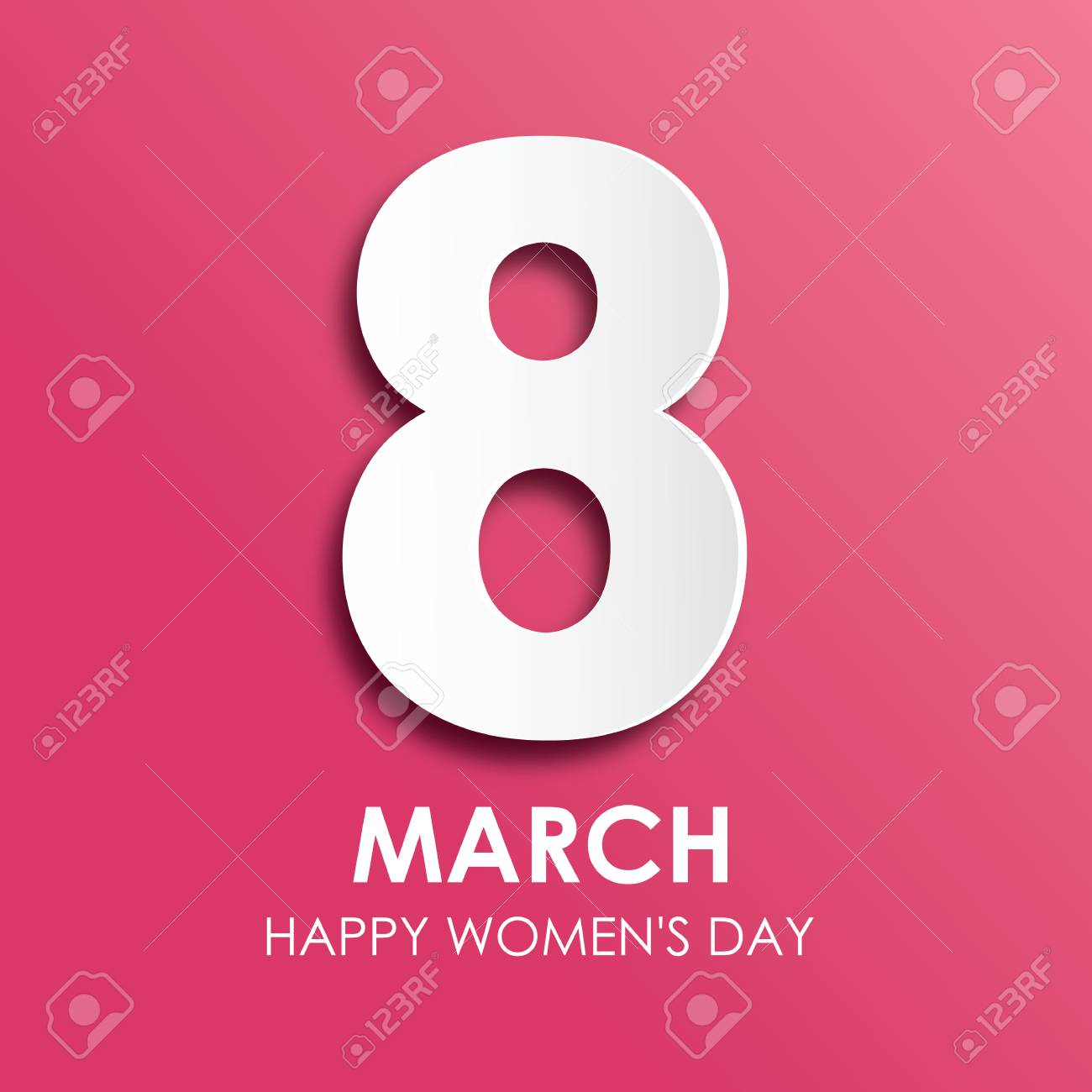 8 March Happy Womens Day Greeting Card In Paper Style Royalty Fri