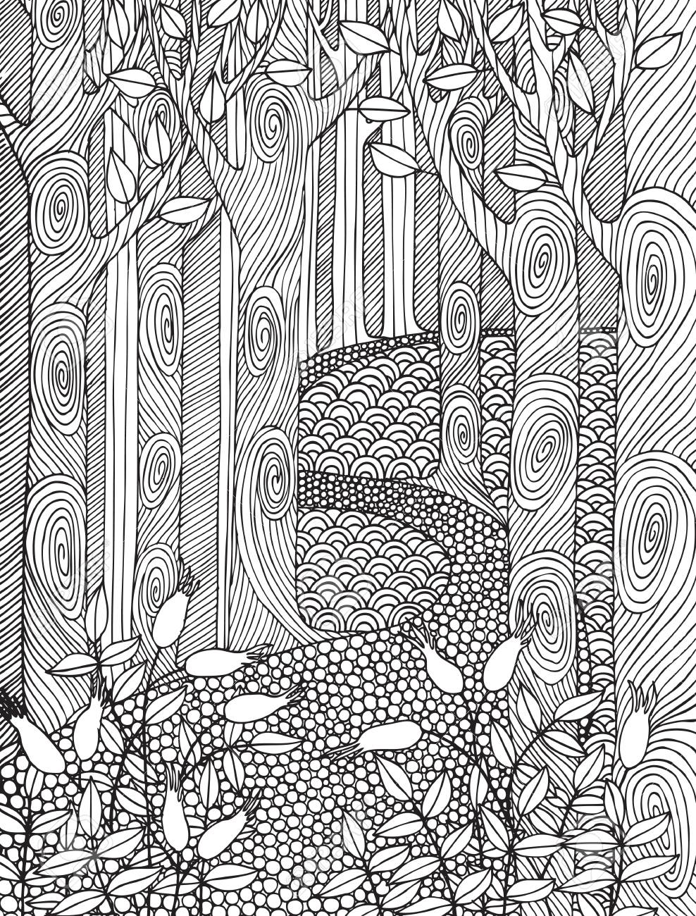 Adult Coloring Book Page Design With Forest Trees. Coloring Book ...