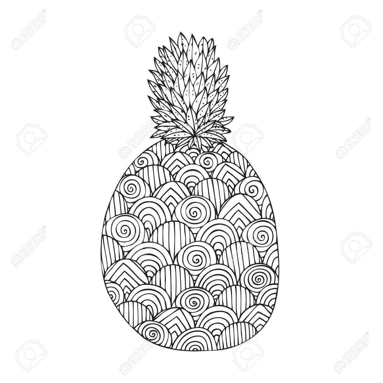 Adult Coloring Book Page Design With A Picture Of Pineapple For