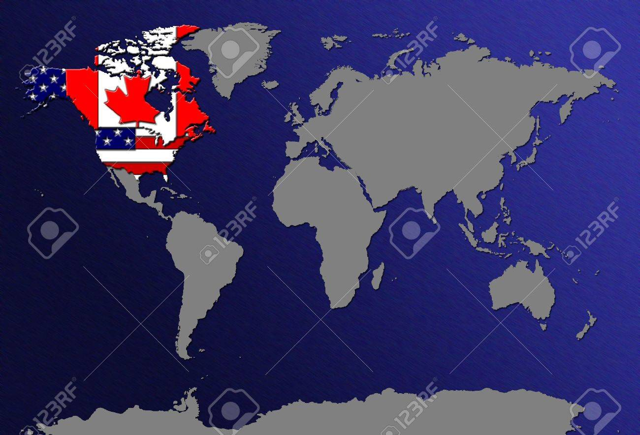 World Map Canada Usa World Map   Canada And USA Stock Photo, Picture And Royalty Free