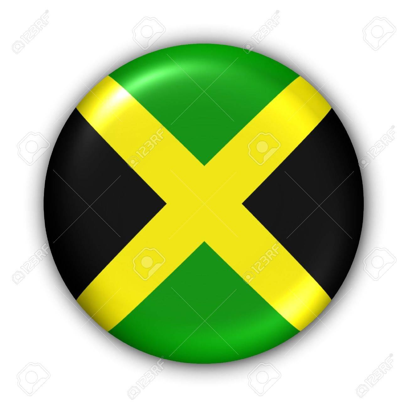 World Flag Button Series - Central America/Caribbean - Jamaica (With Clipping Path) - 374004