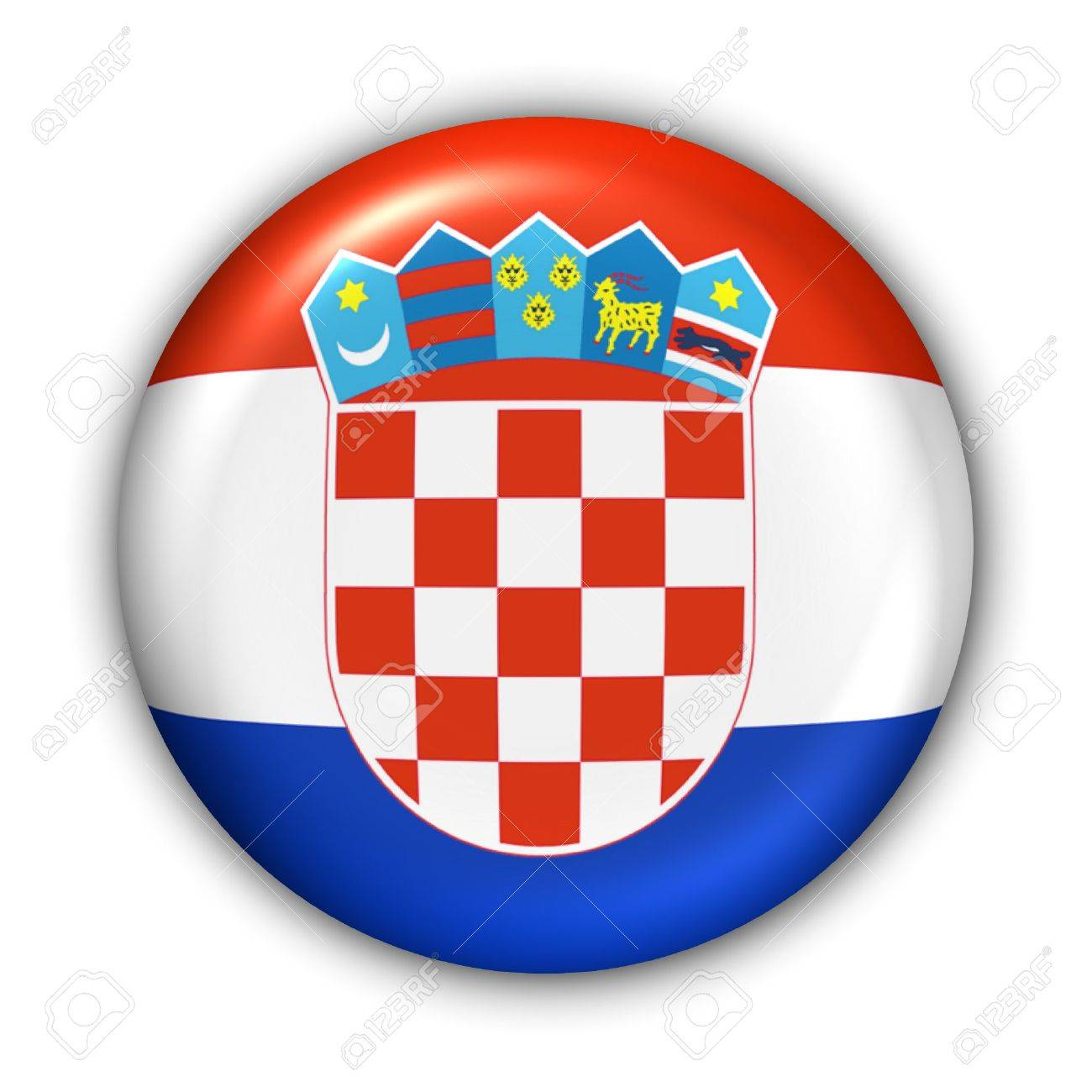 World Flag Button Series - Europe - Croatia(With Clipping Path) - 373996