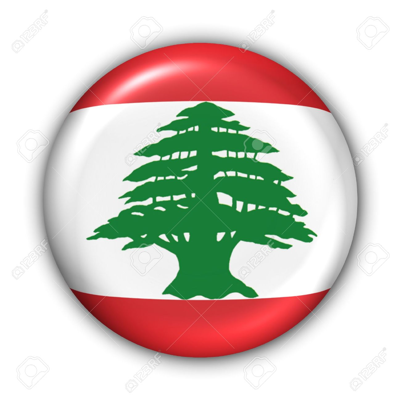World Flag Button Series - Asia/Middle East - Lebanon (With Clipping Path) - 373993