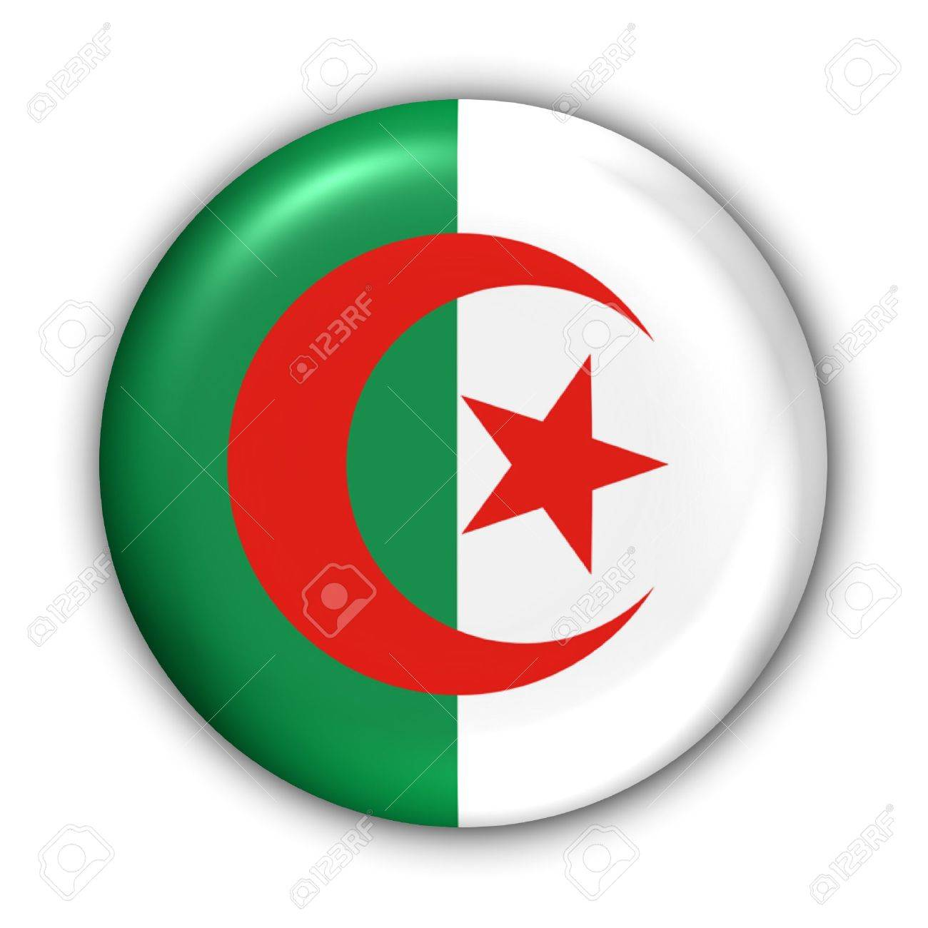 World Flag Button Series - Africa - Algeria (With Clipping Path) - 373947