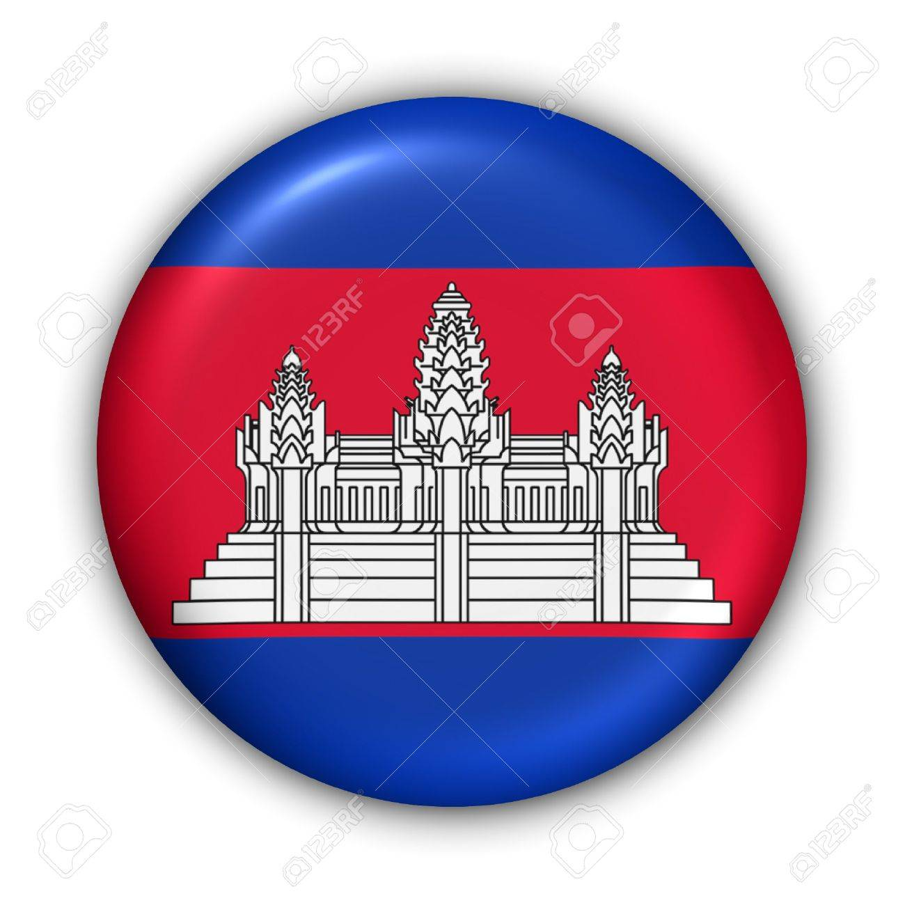 World Flag Button Series - Asia - Cambodia (With Clipping Path) - 373953