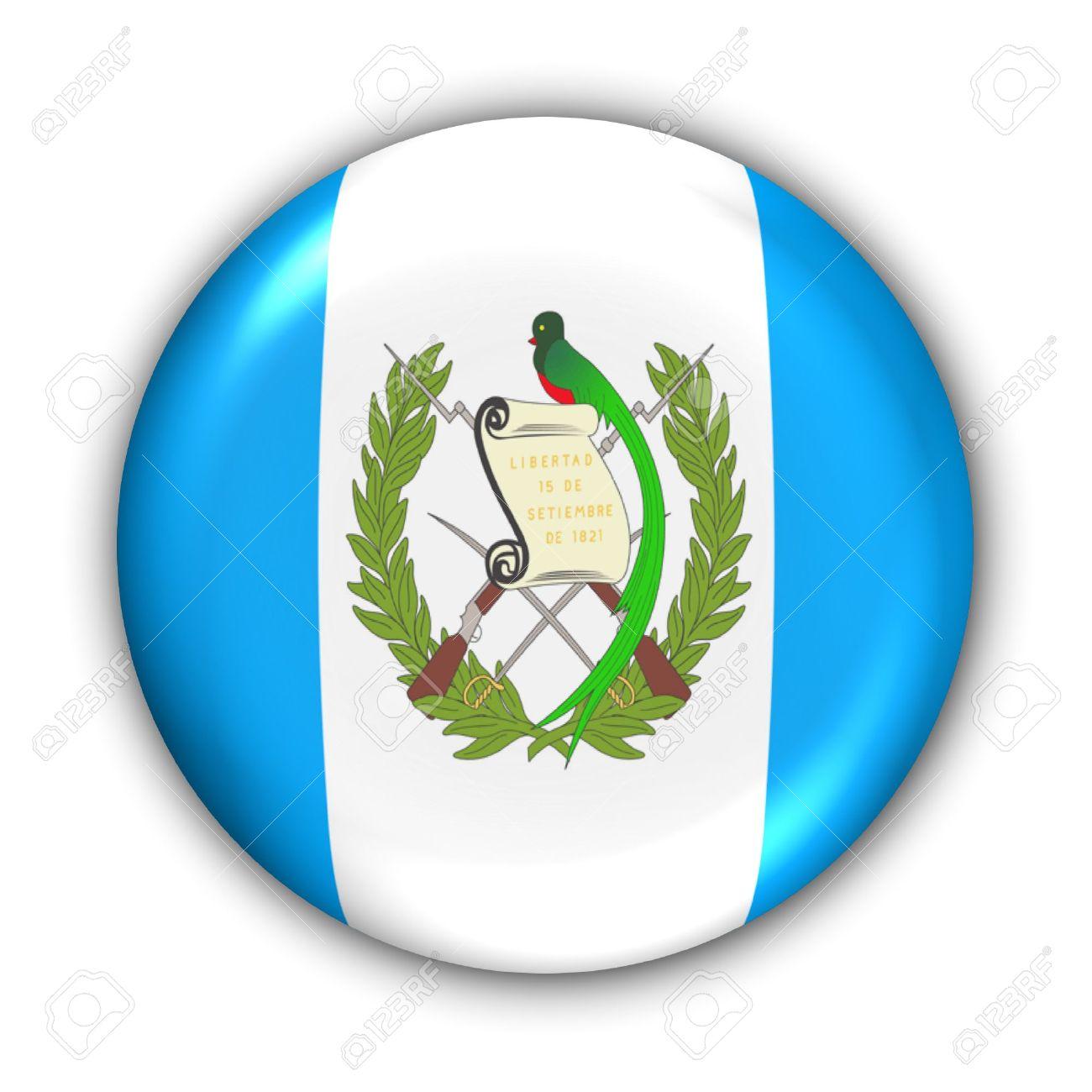 Botón de la Serie Mundial Bandera - América Central y Caribe - Guatemala (Con Clipping Path)  Foto de archivo - 373956