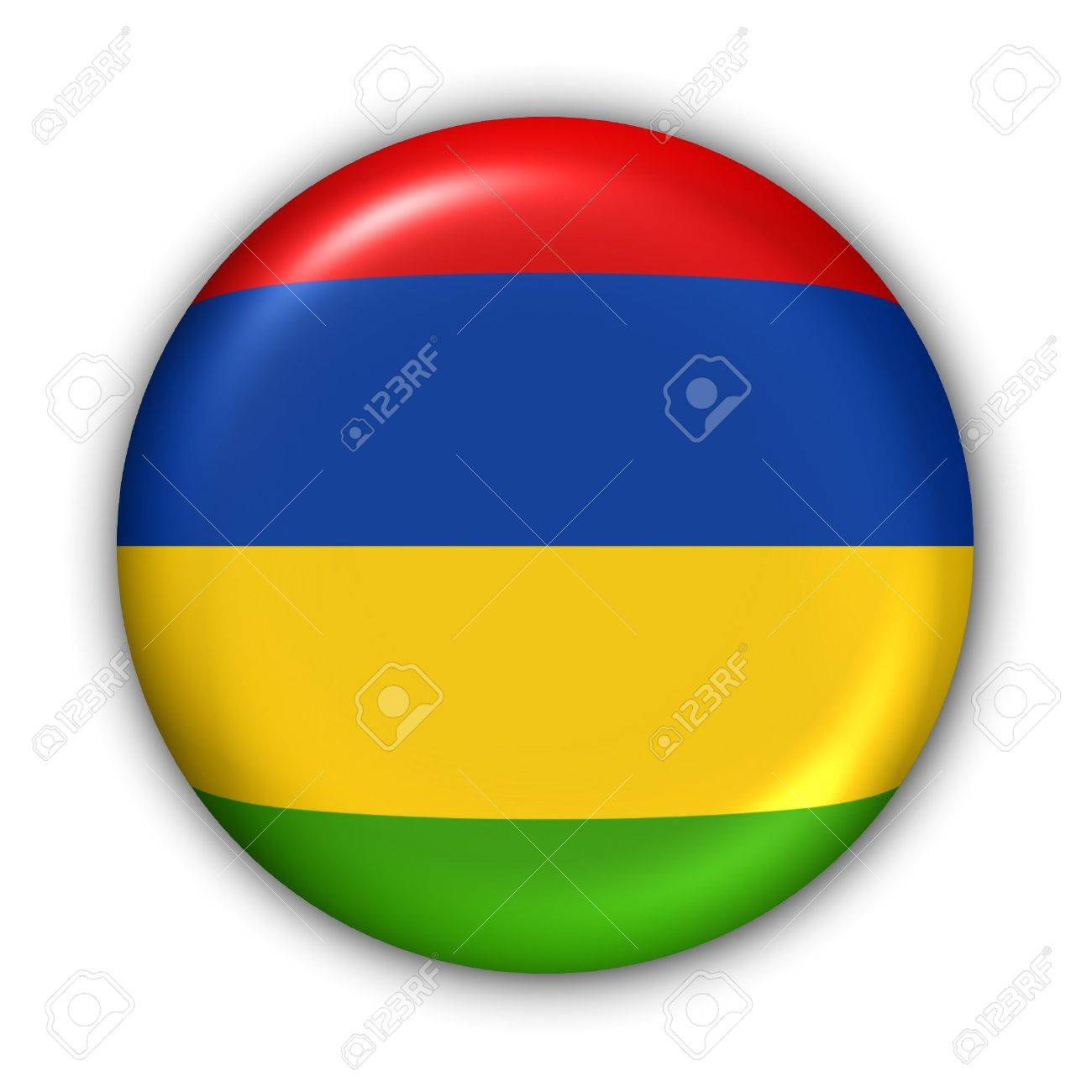 World Flag Button Series - Africa - Mauritius (With Clipping Path) - 373960