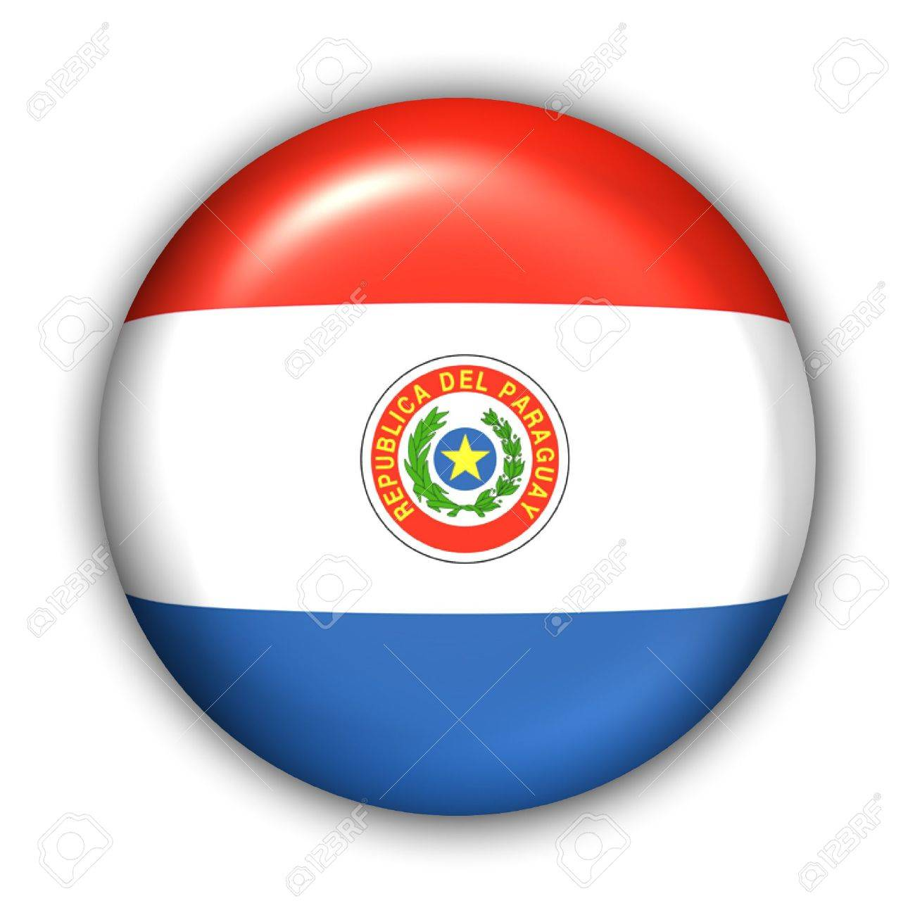 World Flag Button Series - South America - Paraguay (With Clipping Path) - 373971