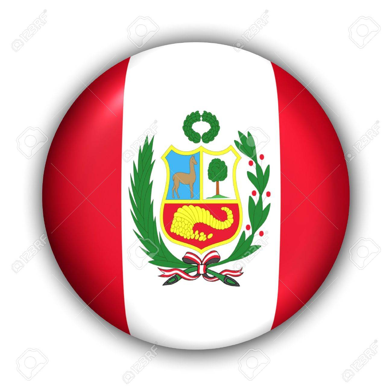 World Flag Button Series - South America - Peru (With Clipping Path) - 373961