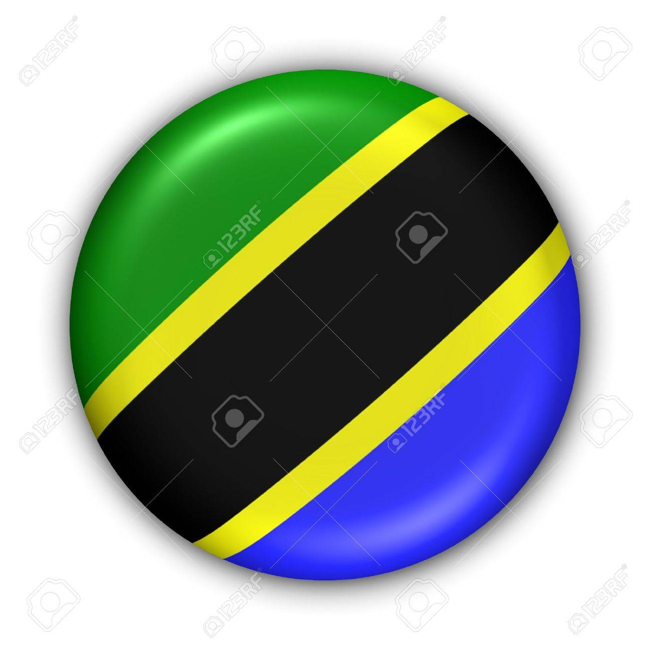 World Flag Button Series - Africa - Tanzania (With Clipping Path) - 373965