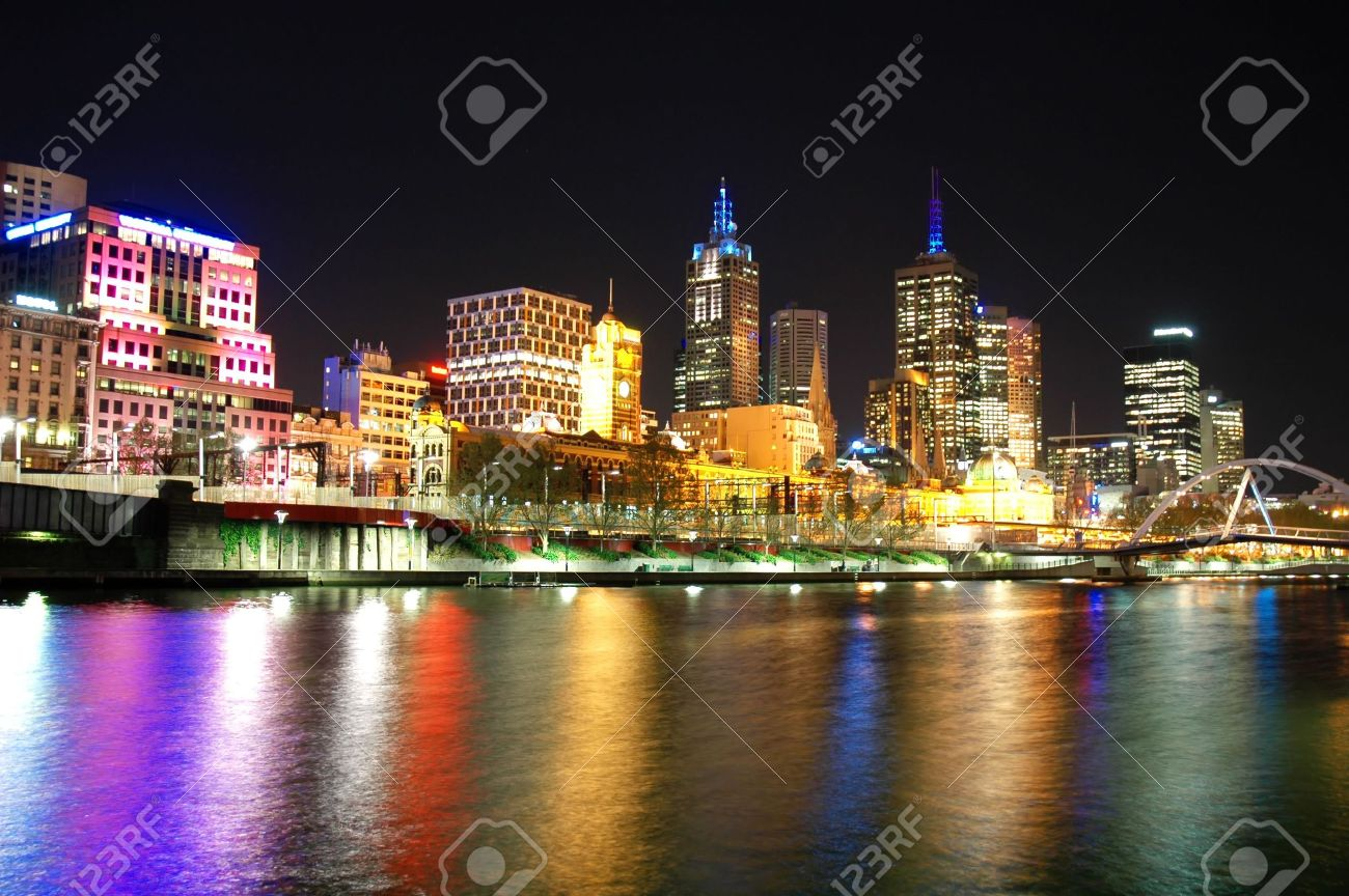 A night shot of the Melbourne City Skyline over the river - 3235383