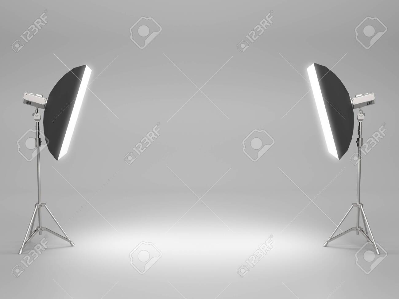 White pedestal for display,Platform for design,Blank product stand with SoftBox Light. 3D rendering - 144045358