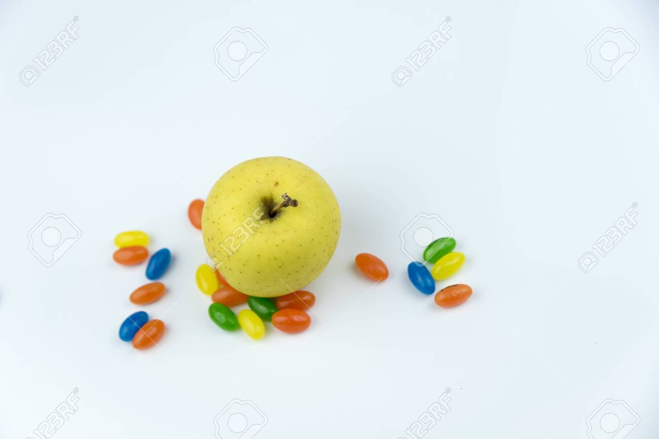 Apple surrounded by jewish trinkets - 128680544