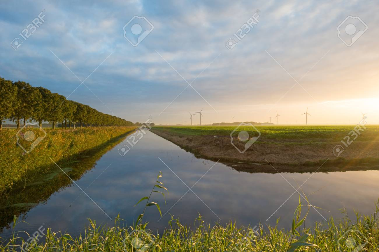 Canal in sunlight at dawn in autumn Stock Photo - 15738022