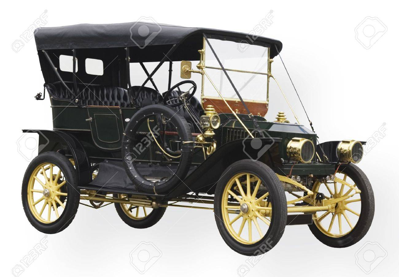Vintage black car with polished brass lamps and accessories Stock Photo - 849526
