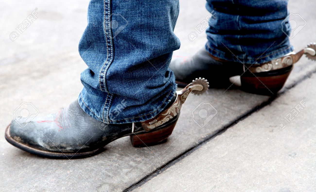 Cowboy Boots With Spurs Stock Photo, Picture And Royalty Free ...