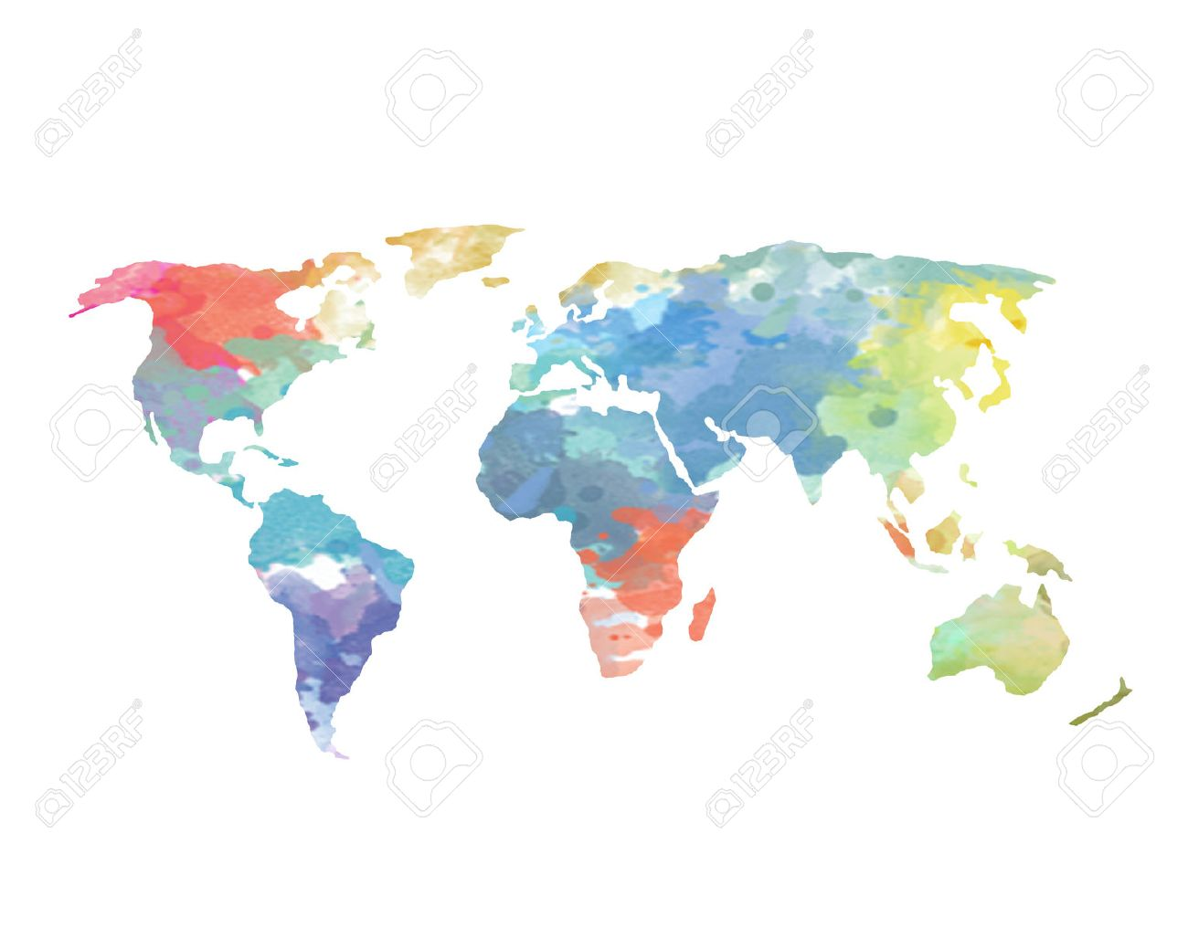 Watercolor world map poster continents ocean stock photo picture watercolor world map poster continents ocean stock photo 31406583 gumiabroncs Images