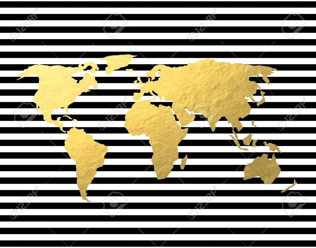 Gold foil world map on black stripe backgroun stock photo picture gold foil world map on black stripe backgroun stock photo 33812646 gumiabroncs Images