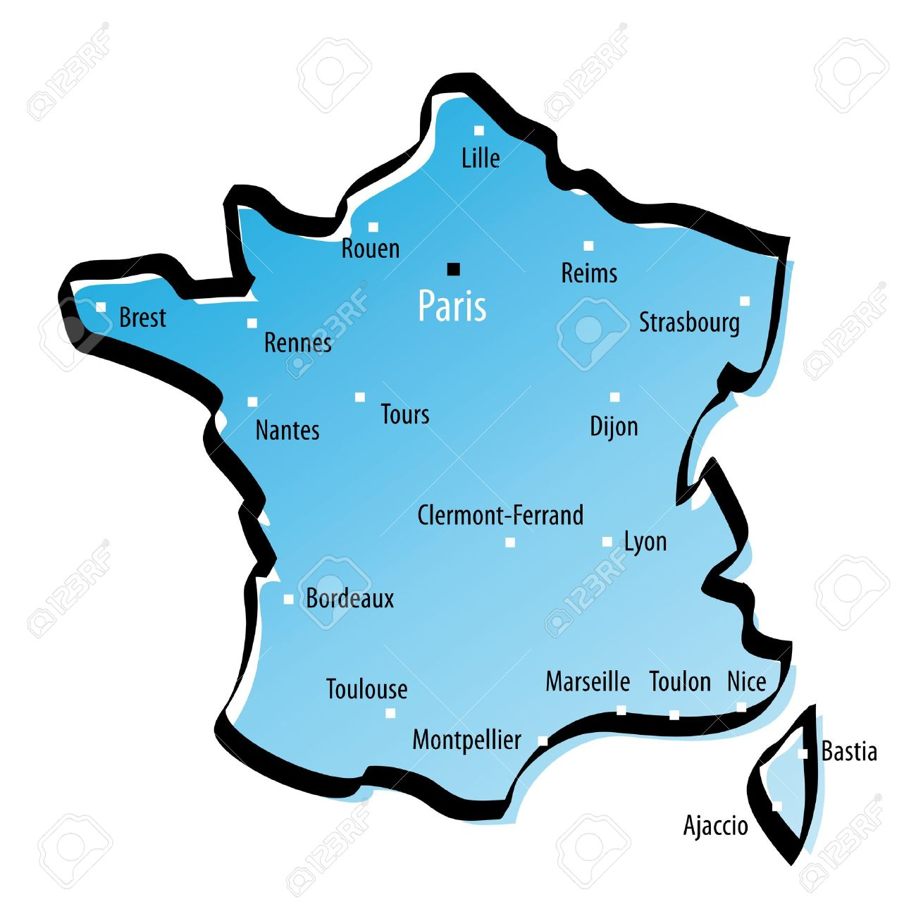 Map Of France Major Cities.Stylized Map Of France With Major Cities Royalty Free Cliparts
