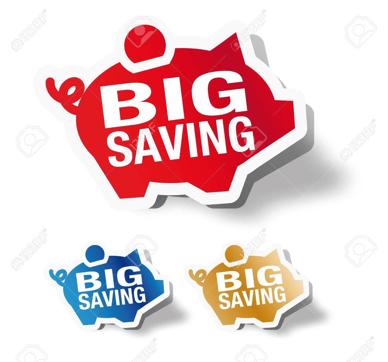 Big saving - piggy bank sticker Stock Vector - 14291501