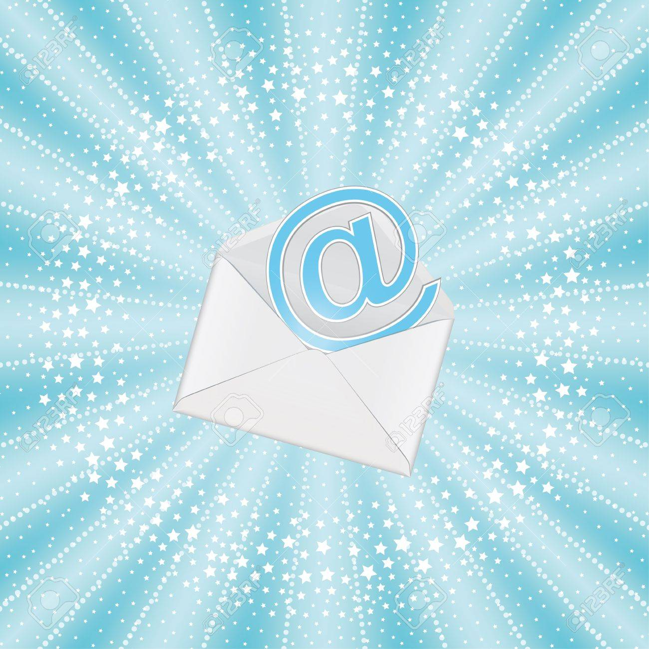Email background image - Envelope With Email On Blue Sunbeam Background Stock Vector 13241623
