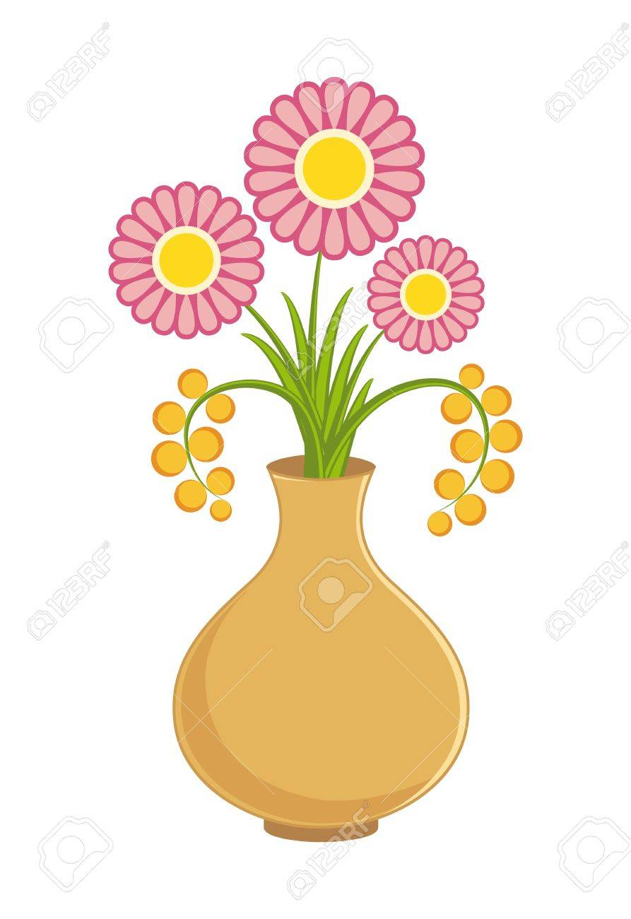Pink Flowers In Vase On White Background Royalty Free Cliparts