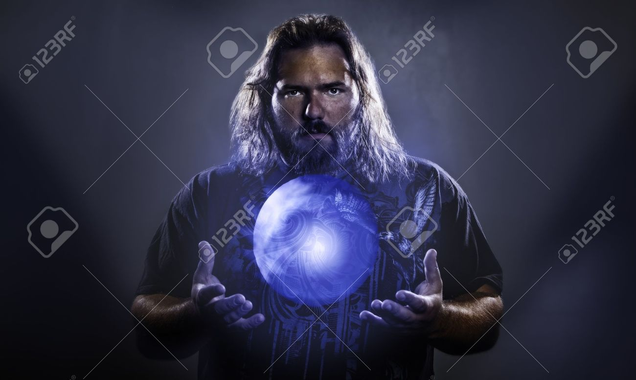 Long haired white male with a mystical glowing orb to signify power, magic, spirituality and so forth Stock Photo - 17232553