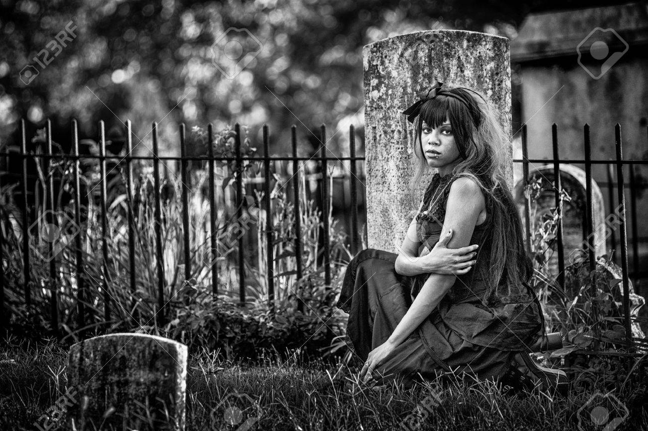 Beautiful African American Gothic Woman In A Graveyard Black And White Photo With Added Film
