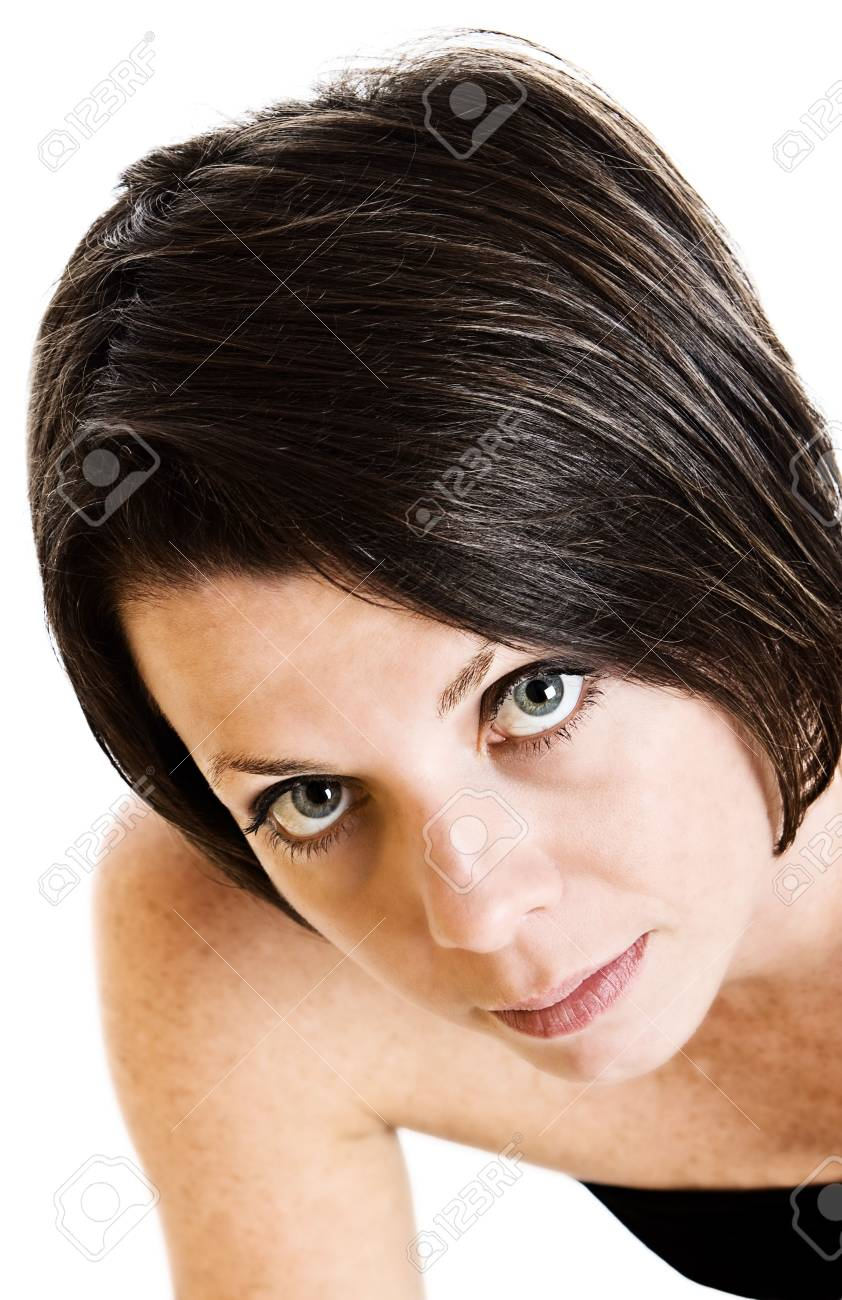 Shot of a Woman Looking Up Stock Photo - 3980585