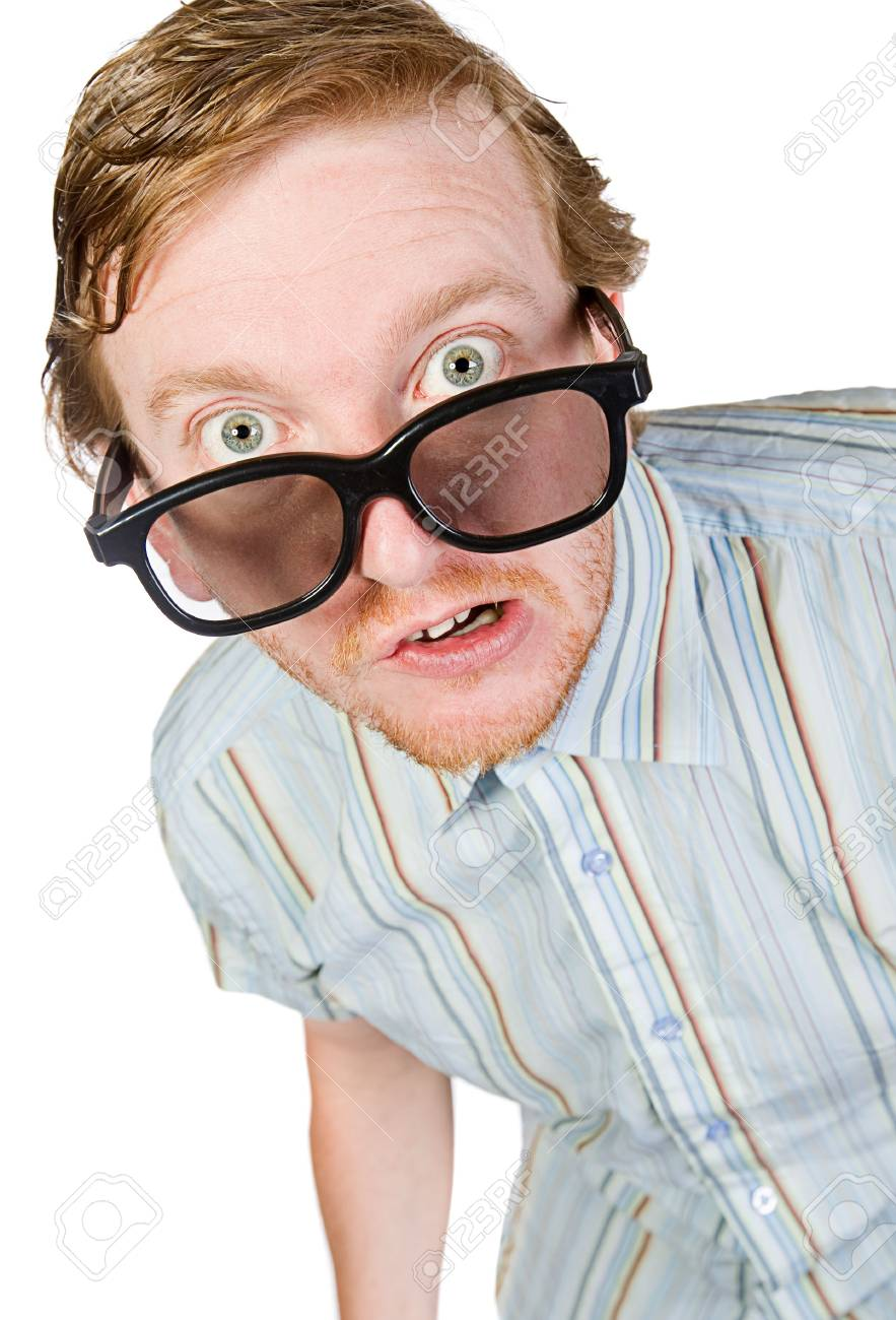 Isolated Shot of a Red Headed Geek Stock Photo - 5443796