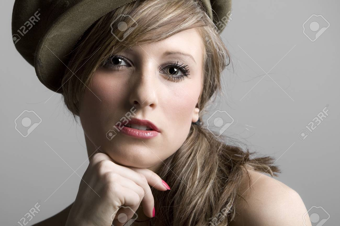 Beautiful Shot of a Teenage Model in Hat Stock Photo - 6665241