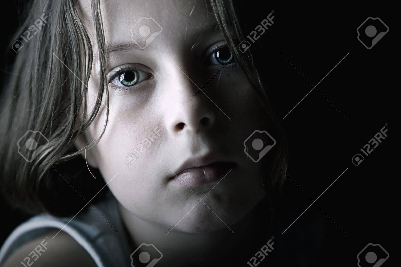Low Key Shot of Sad Child Stock Photo - 14447407