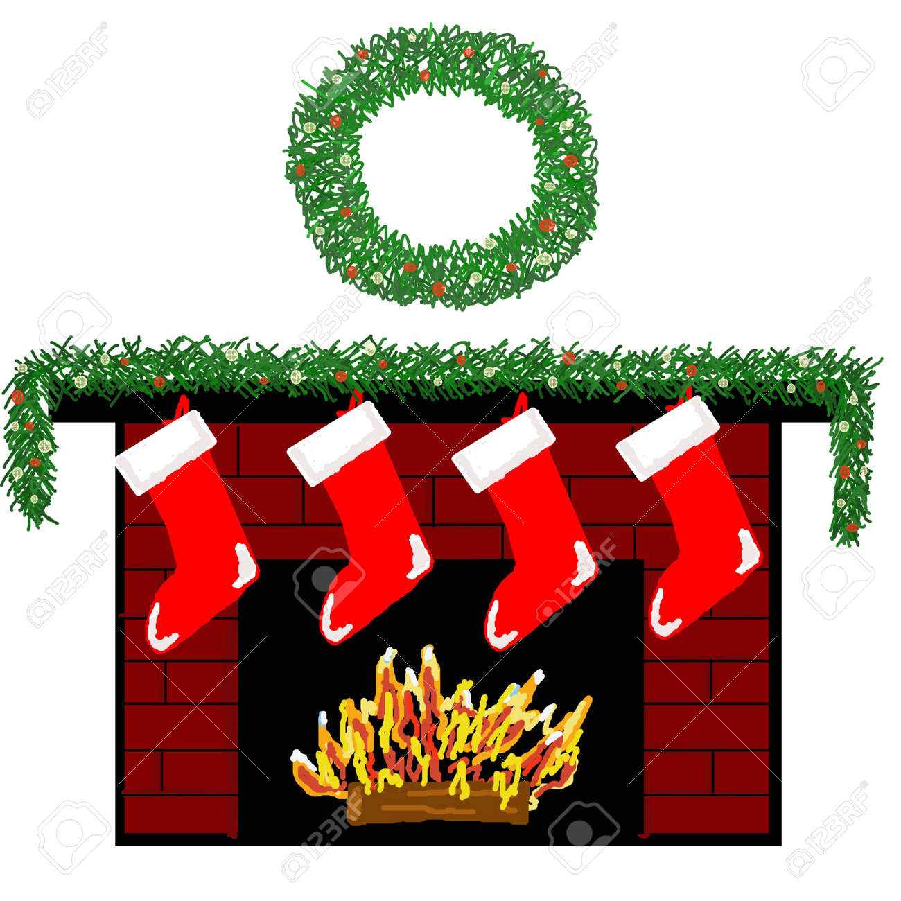 A Cozy Fireplace Decorated For Christmas With Stockings. Stock ...