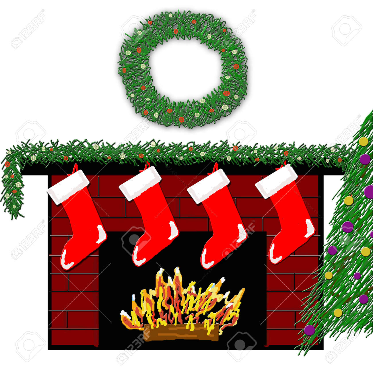 a red brick fireplace decorated with stockings garland and wreath with a cozy fire beneath