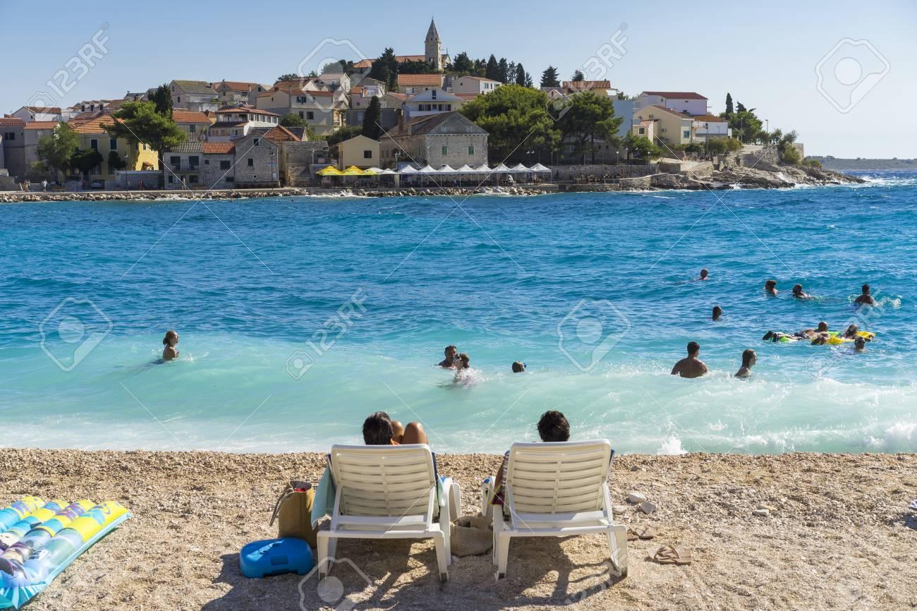 Primosten Croatia August 14 2017 People Swimming In Water Stock