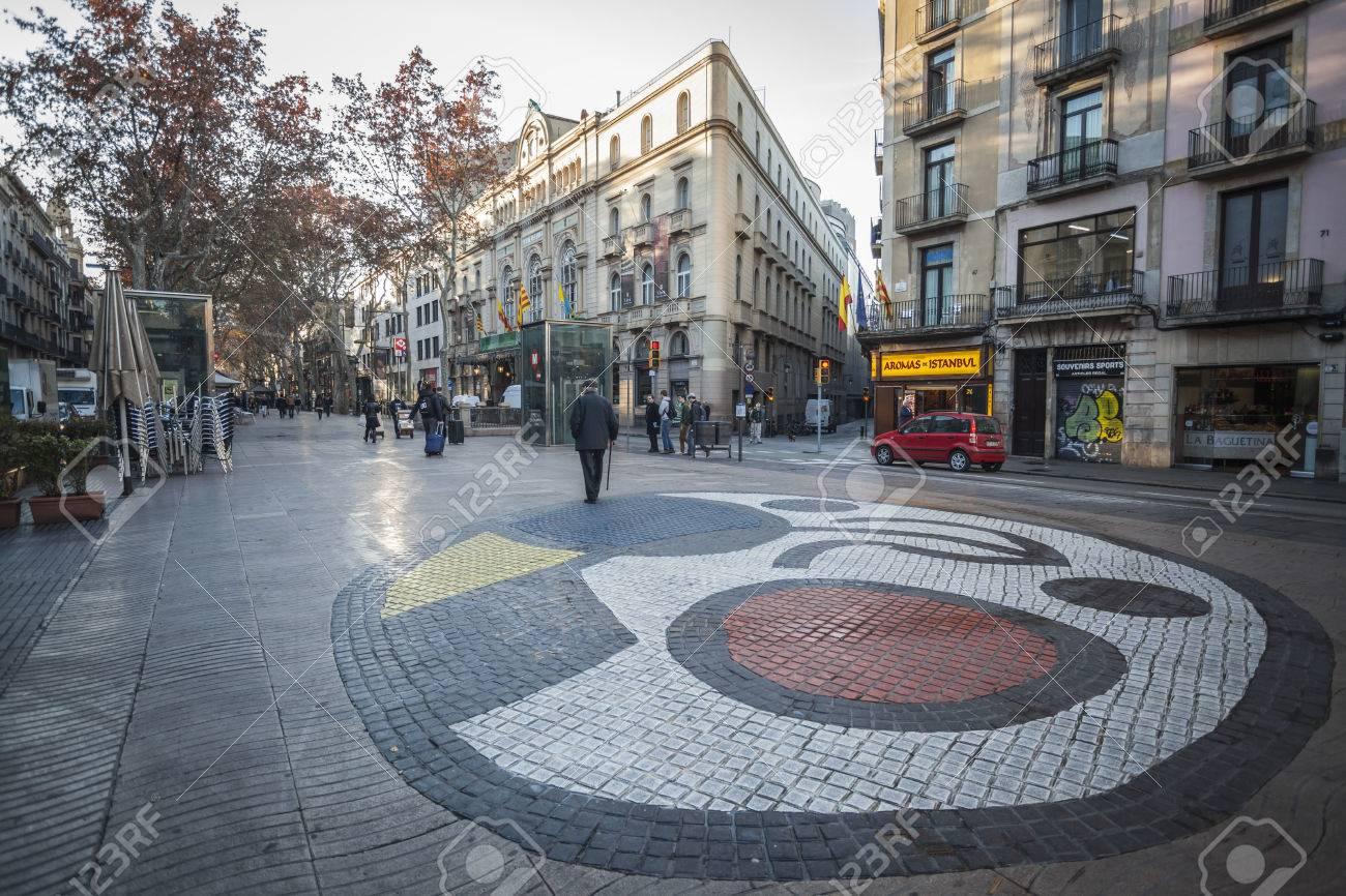 Barcelona Spain December 30 2015 La Rambla Mosaic In Pavement