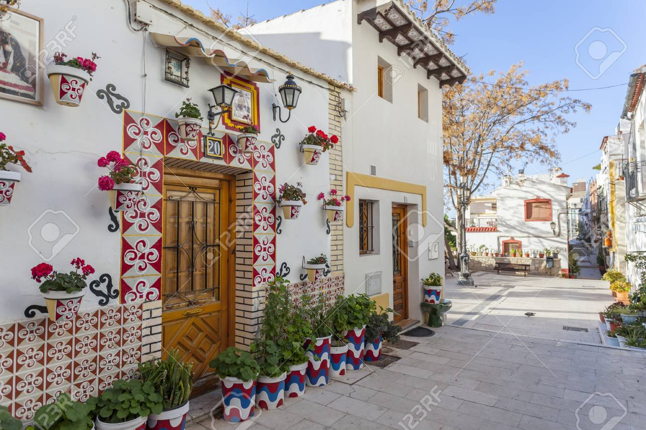 alicante spain january 18 2018 colored picturesque houses streettypical