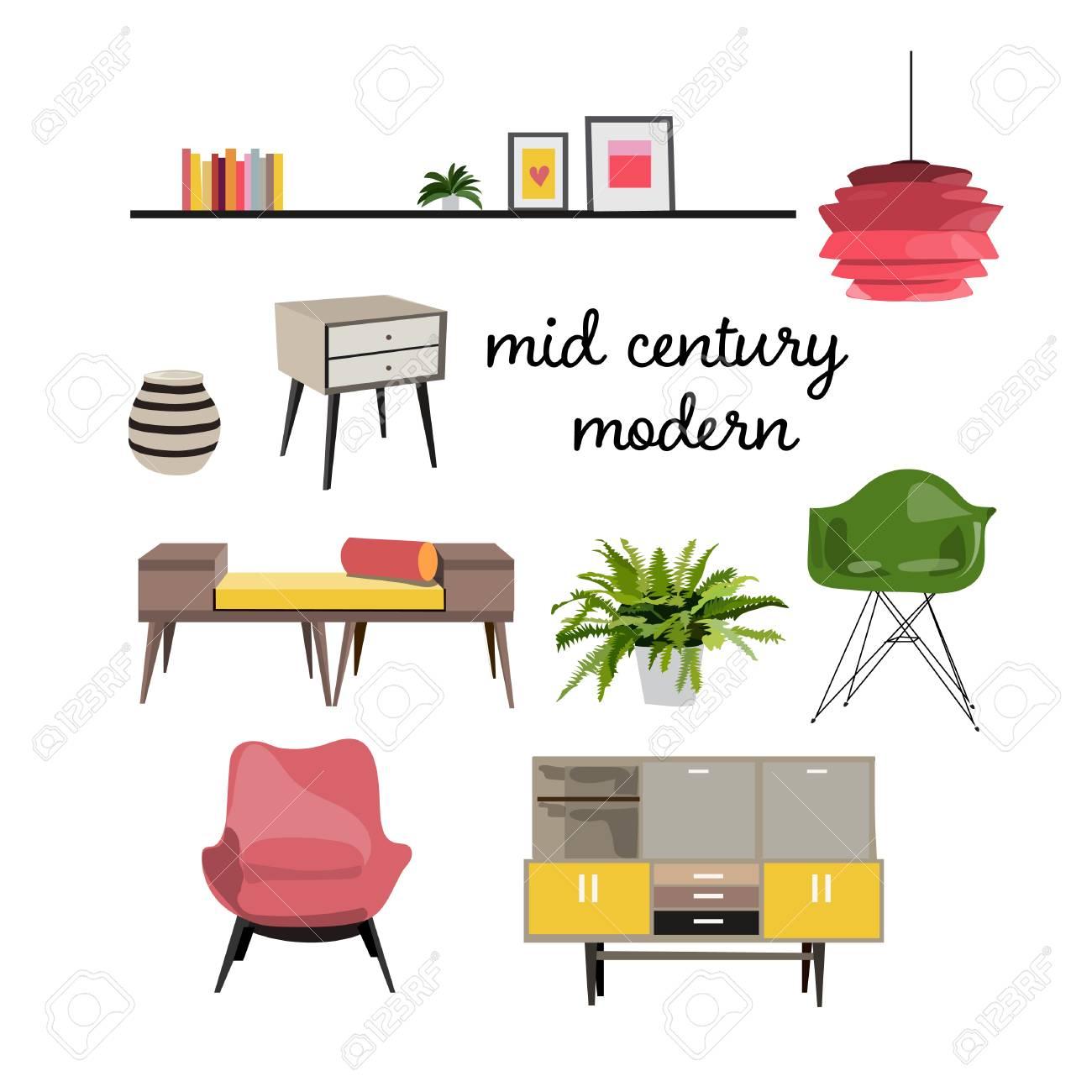 Vector vector furniture living room interior design elements illustration mid century modern retro style mood board