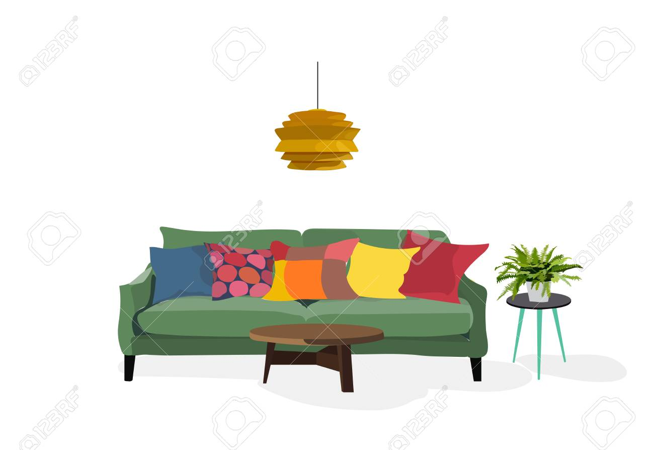Vector Furniture Living Room Interior Design Elements. Illustration. Mid  Century Modern Retro Style.