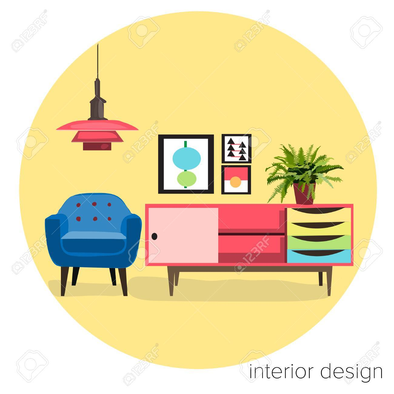 Vector Furniture Living Room Interior Design Elements Mid Century