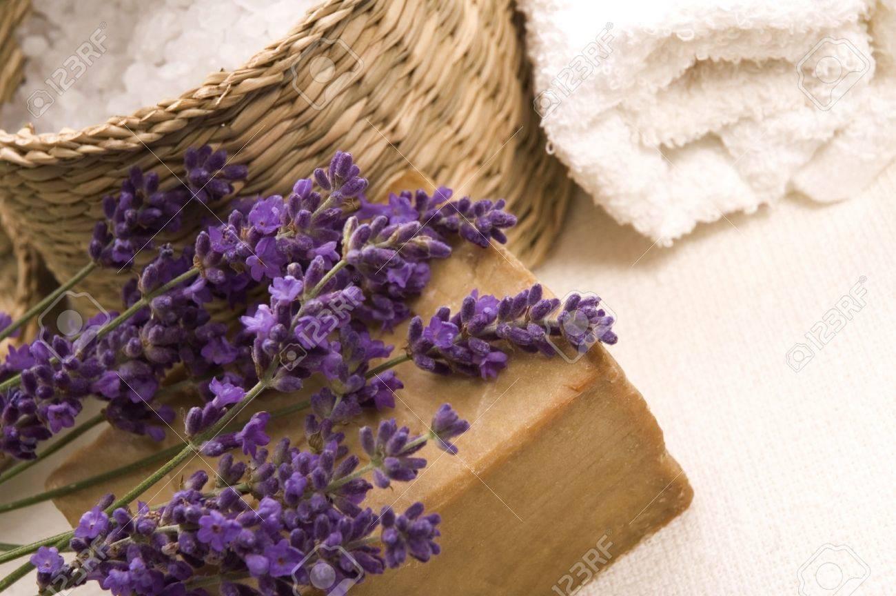 Aroma Bath Items Salt Towels Soap And Fresh Lavender Flowers