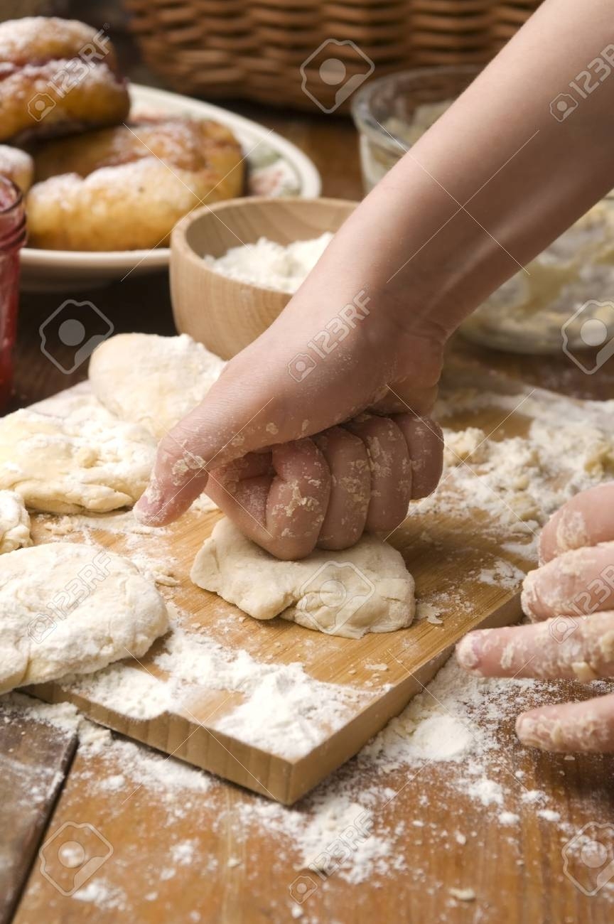 Detail of hands kneading dough Stock Photo - 13478598