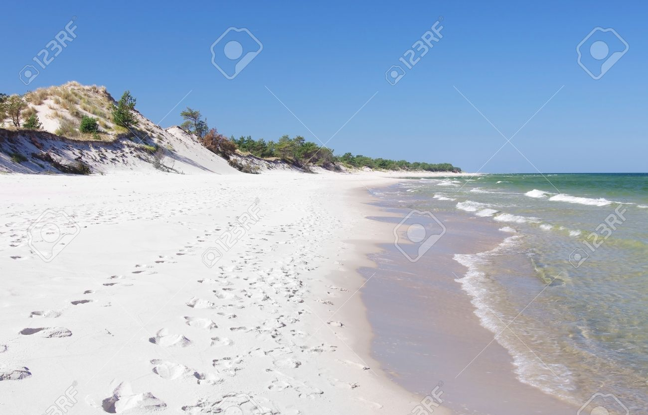 empty sand beach with wild dunes hel poland stock photo picture