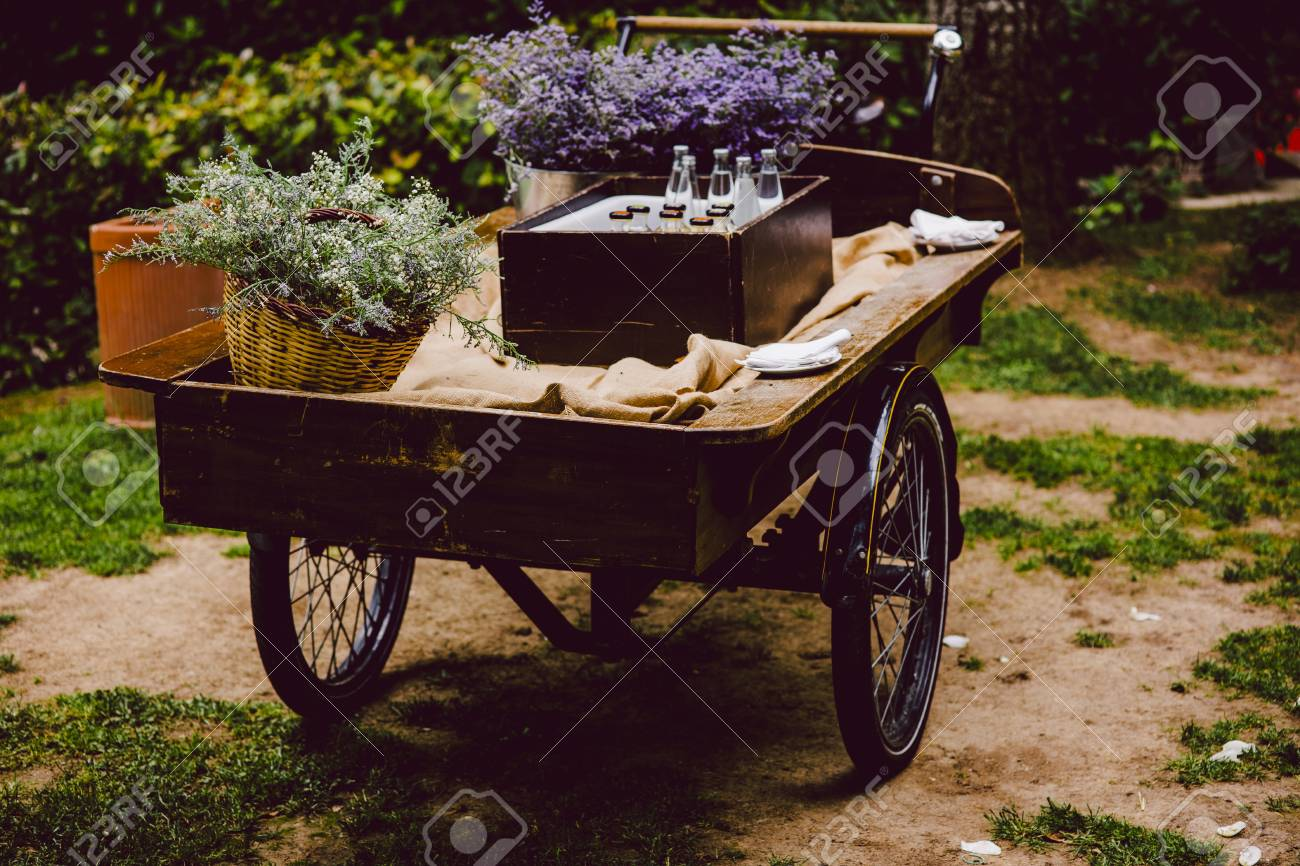 Old Wooden Cart To Transport Goods Used For Decoration At A Wedding