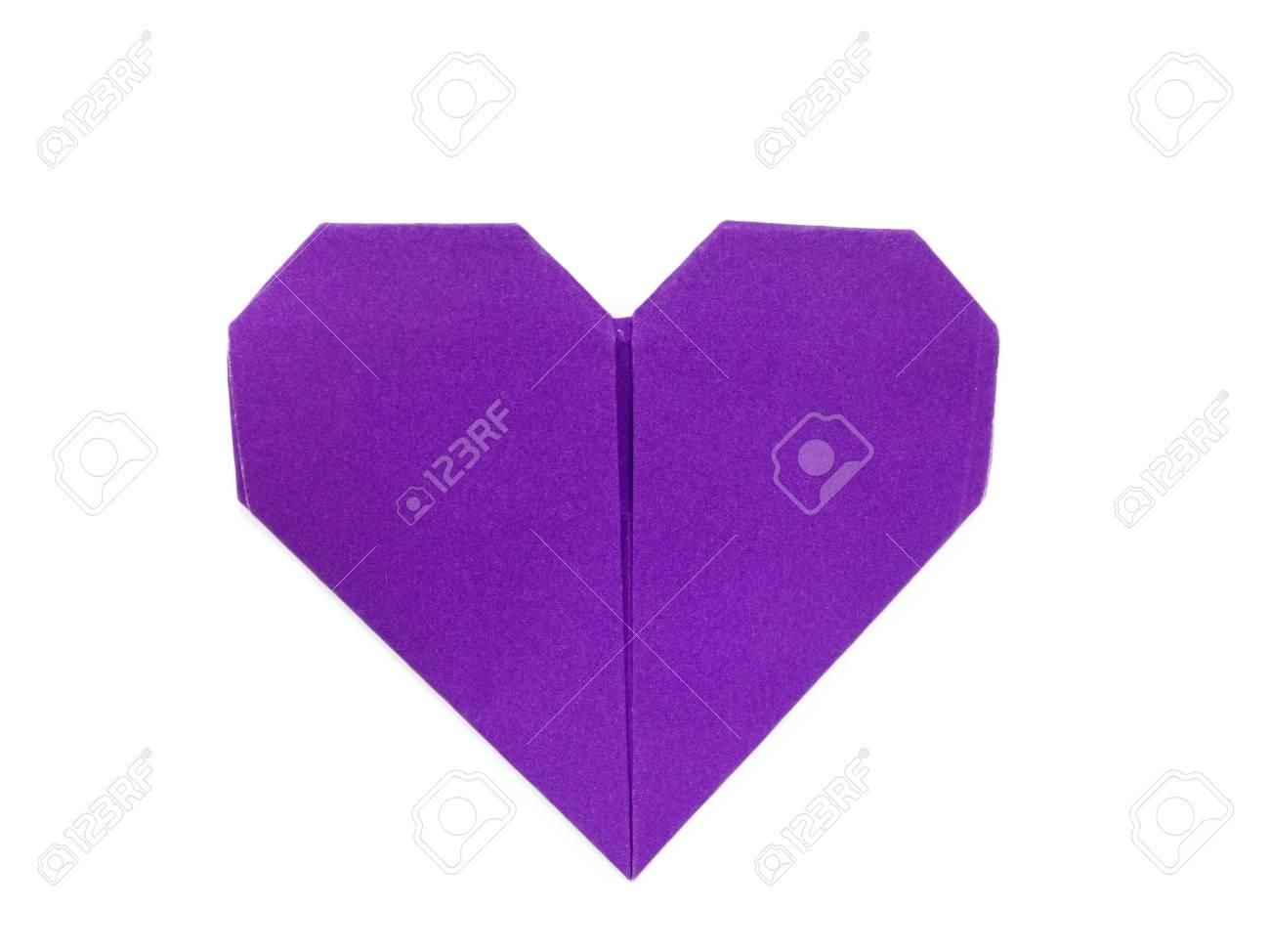 Lila Herz Aus Papier Origami Auf Weißem Hintergrund Lizenzfreie
