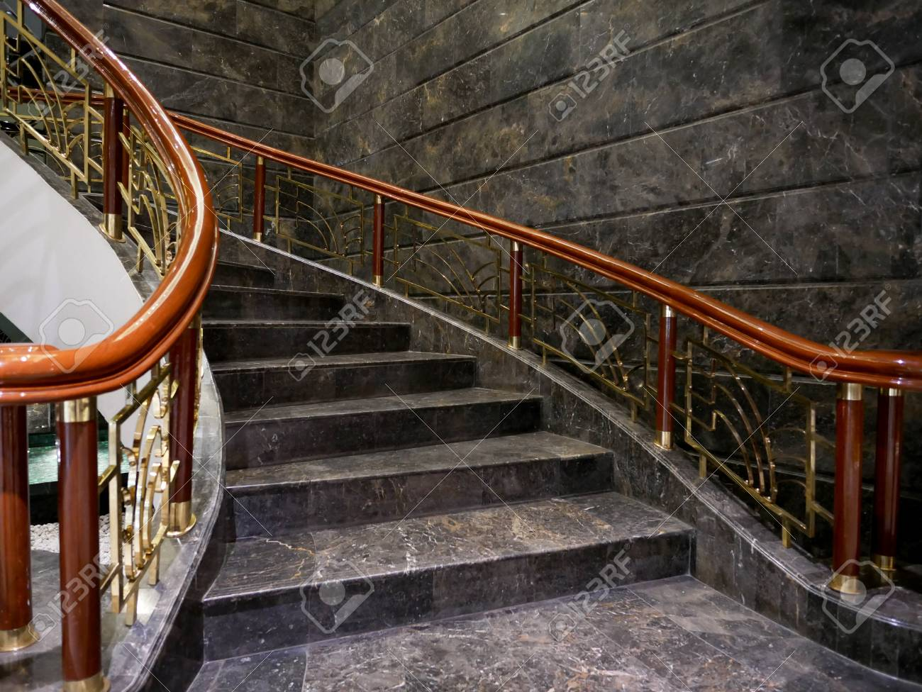 Part Of Elegant And Luxury Spiral Staircase . Stock Photo   81337849