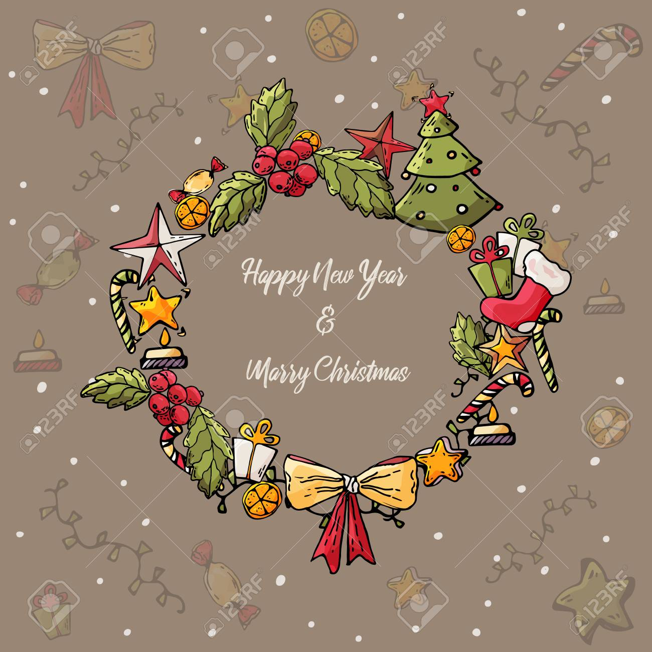 Merry Christmas And Happy New Year Card Christmas Wreath With