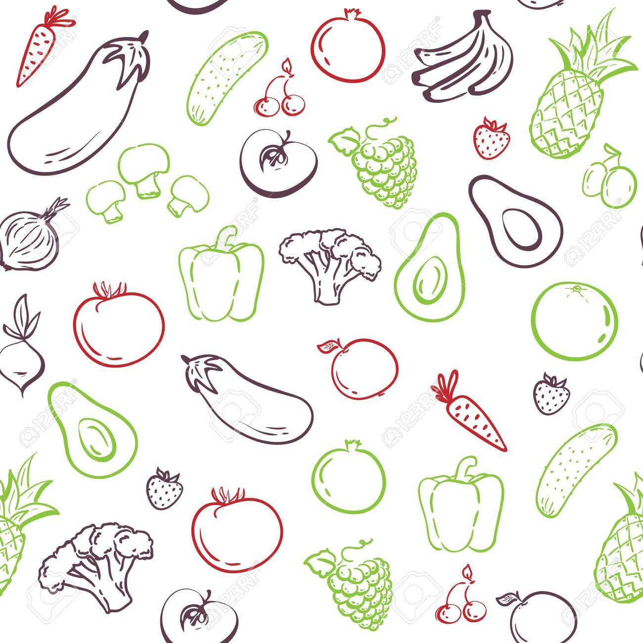 Vegetables Seamless Pattern Hand Drawing Healthy Food Vector