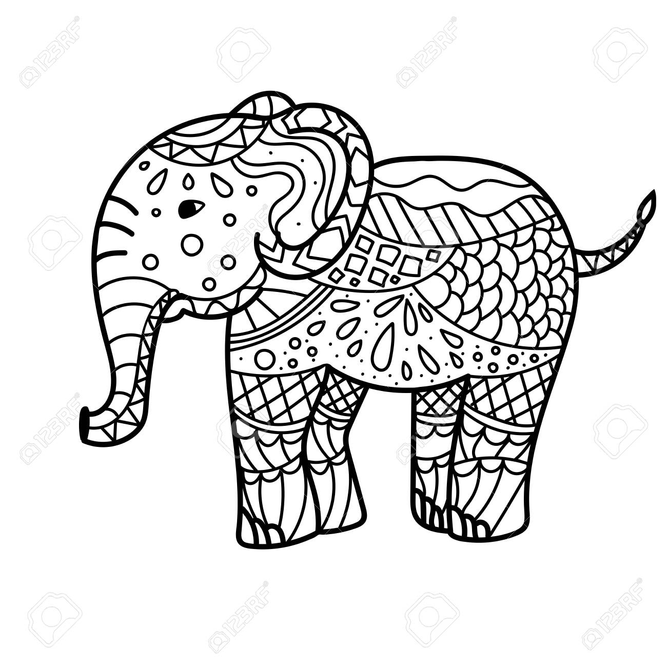 Hand drawn elephant coloring page. Coloring book page for adults,..