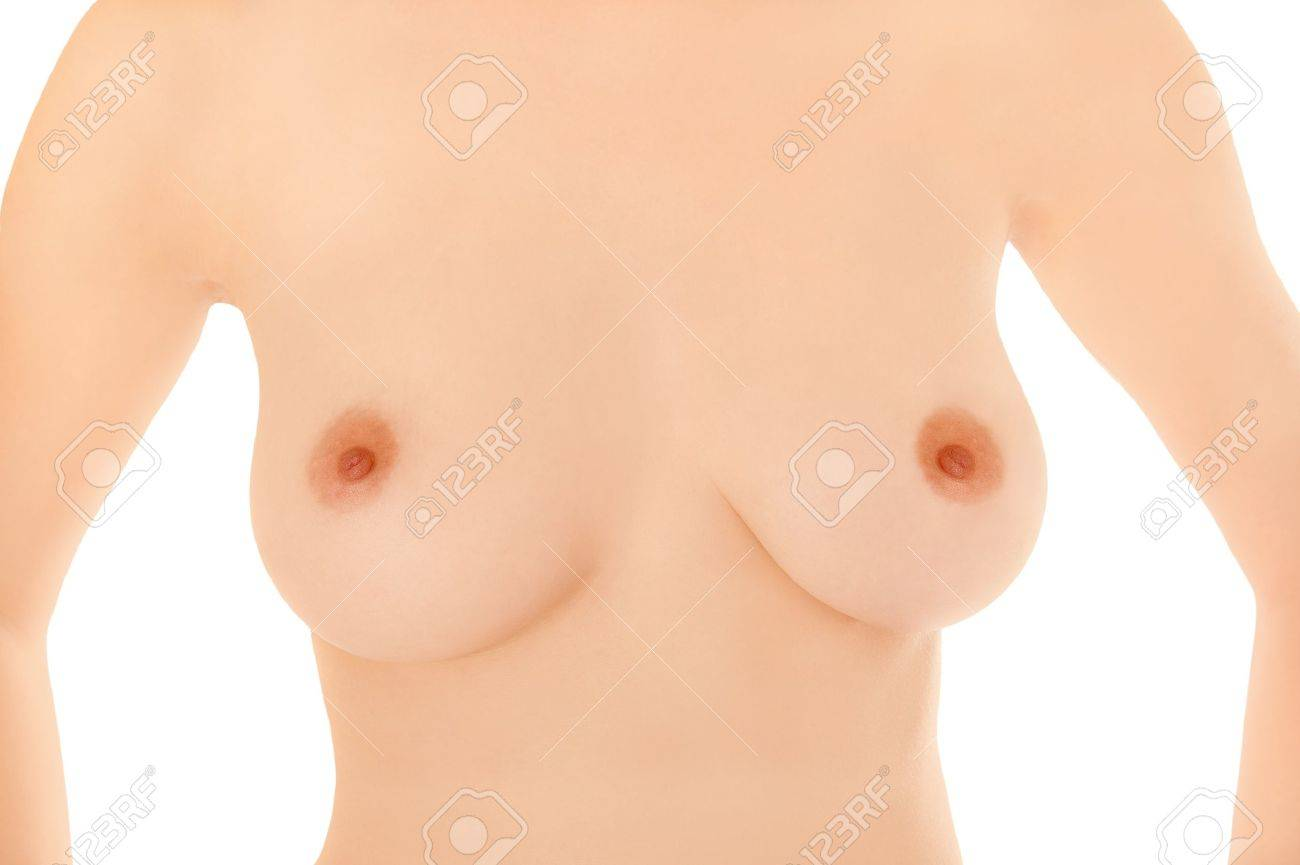 Beautiful breasts of a young woman in front of white background Stock Photo - 9967315